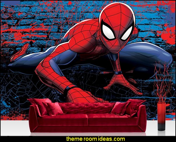 Spiderman Wallpaper Mural  spiderman bedroom decorating ideas - spiderman room decor - Spiderman rooms - superhero bedrooms - Spider web curtains  - spiderweb bedding - Marvel Heroes wall murals -  Avengers wallpaper murals -  superhero theme bedrooms