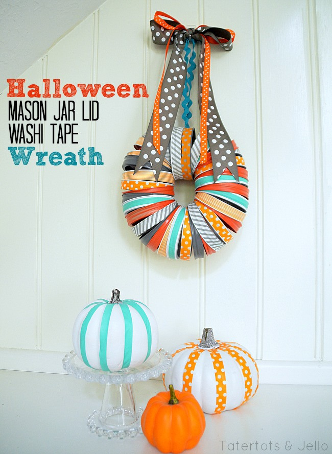 This cute wreath is made with only TWO things: mason jar lids and washi tape. How simple is this fall craft from Jen over at Tater Tots and Jello