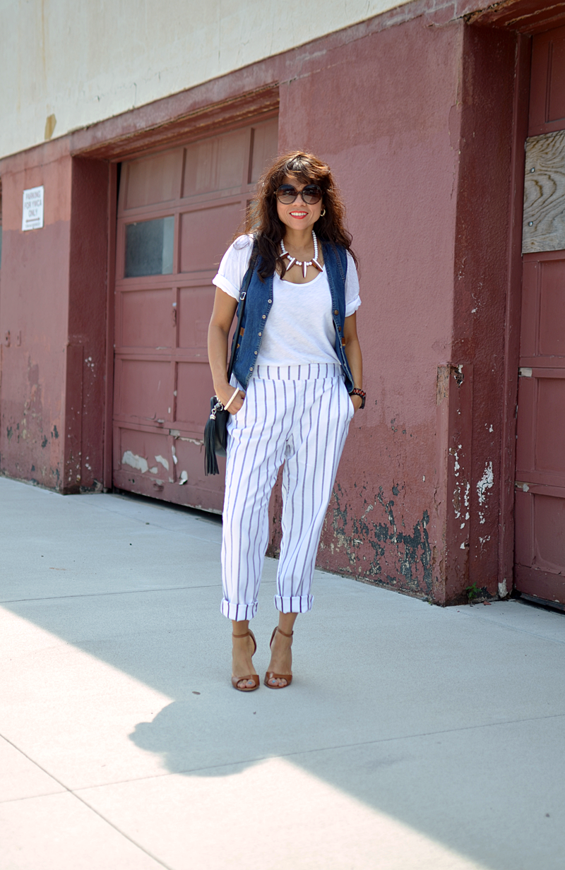 Outfit with striped pants