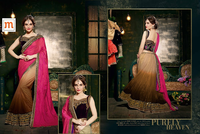 Brown & Pink Net Embroidered Wedding Saree With Velvet Blouse at Moksha Fashions