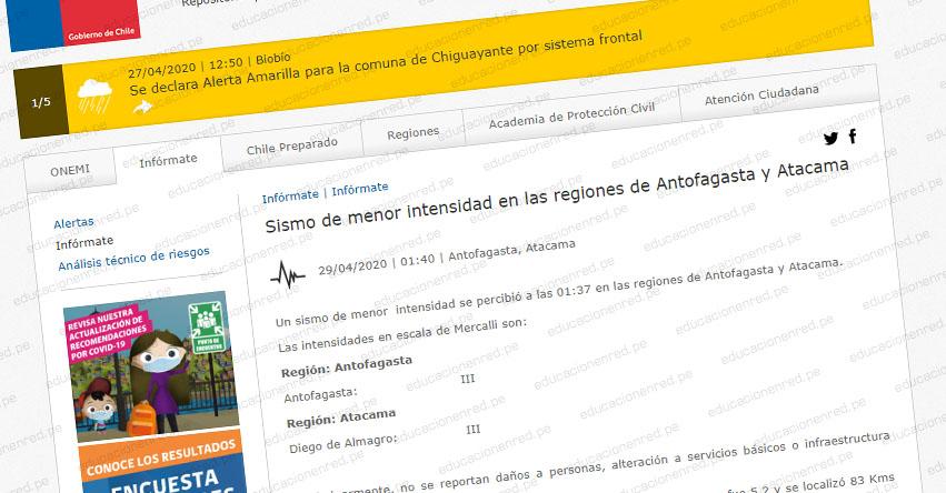 Temblor en Chile de Magnitud 5.2 (Hoy Miércoles 29 Abril 2020) Alerta de Tsunami - Terremoto - Sismo - Epicentro - Antofagasta - Atacama - Diego de Almagro - ONEMI - www.onemi.cl