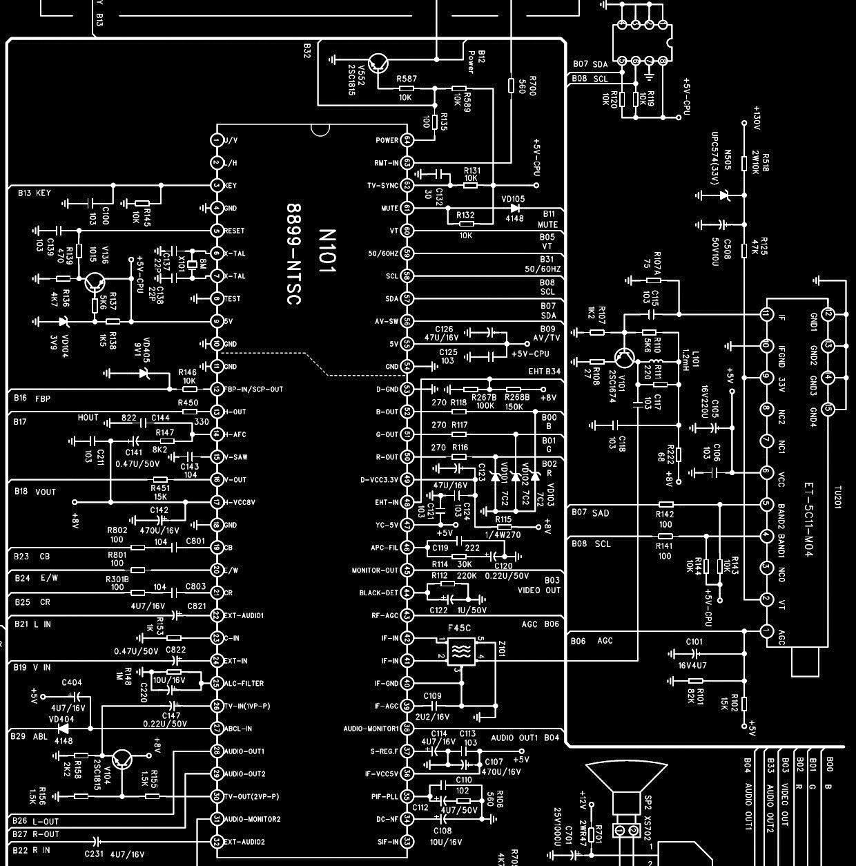 PARKER TU2191  ULTRASLIM CRT TV  FULL CIRCUIT DIAGRAM