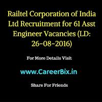 Railtel Corporation of India Ltd Recruitment for 61 Asst Engineer Vacancies