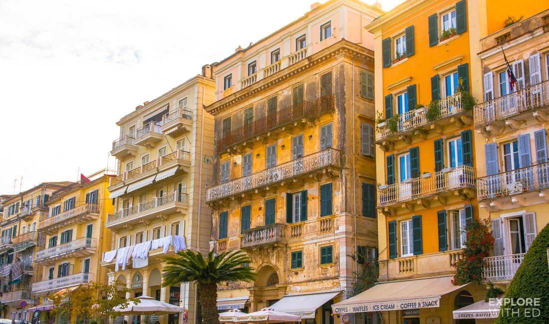 The Venetian and French Style Architecture in Corfu's Old Town