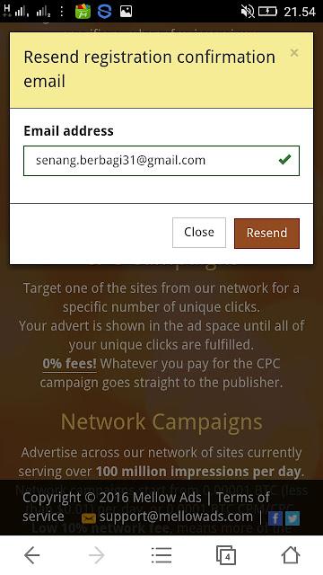 Email Mellows Ads tidak masuk