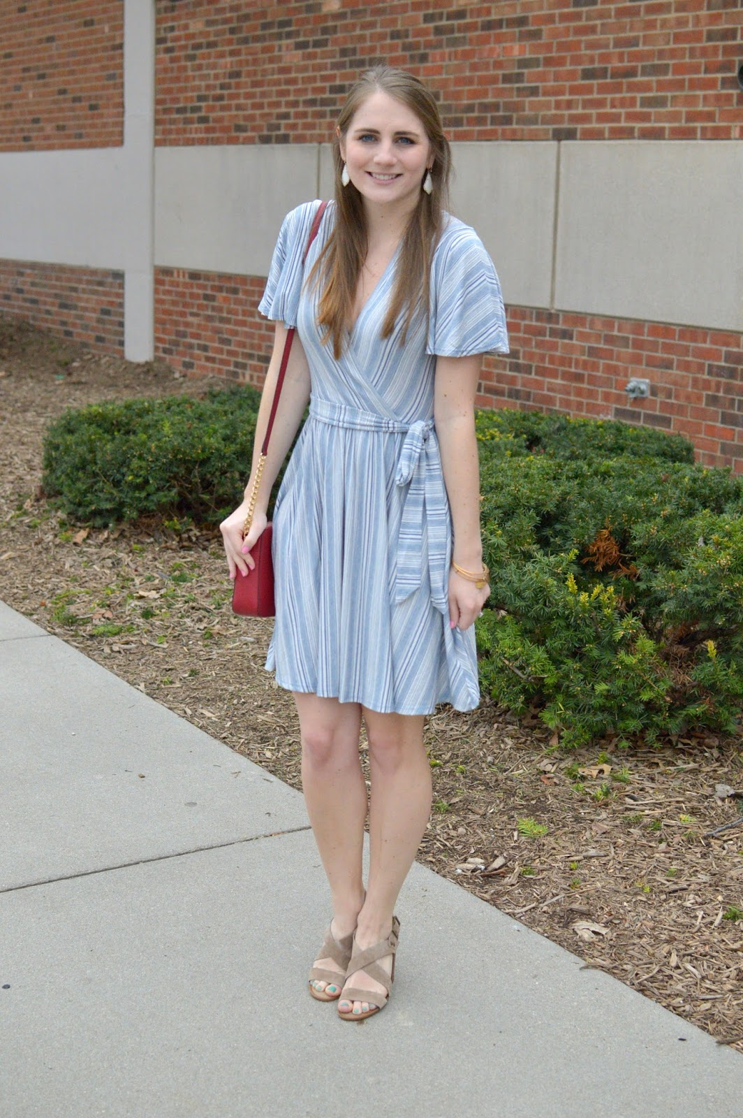 dresses for spring : blue and white cotton striped flutter sleeve dress
