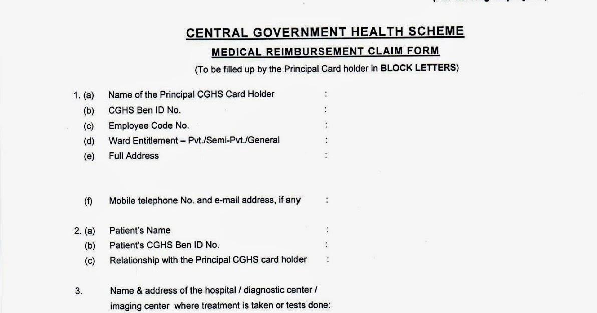 New Medical Reimbursement Claim (MRC) Form for CGHS beneficiaries - medical claim form