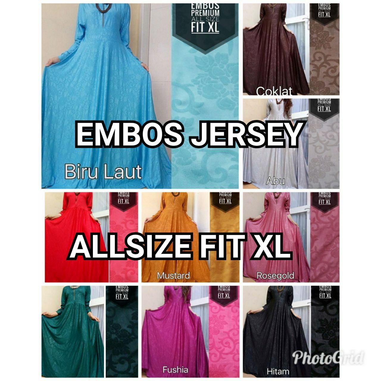 Gamis Jersey Emboss Allsize Fit Xl Jamilah Colectionpusat Embos