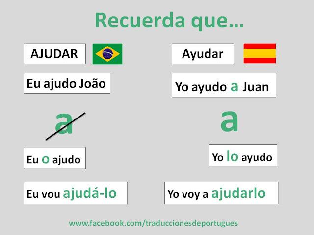 Verbos transitivos directos en portugues