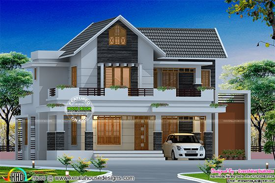 2300 sq-ft cute sloping roof villa