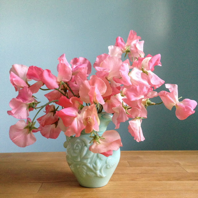 sweet peas, savor summer, vintage pitcher, Avon Pitcher, pink, blue, mint, Anne Butera, My Giant Strawberry