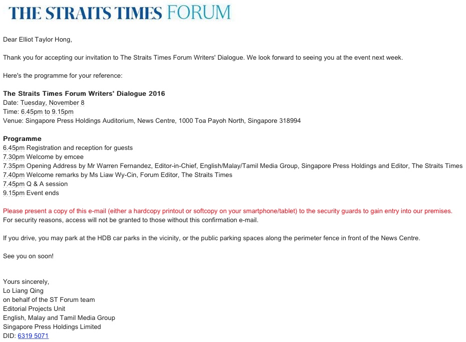 North south the straits times forum writers dialogue 2016 for readers who had read my older blog you guys should know that i was invited for the same dialogue last year stopboris Choice Image