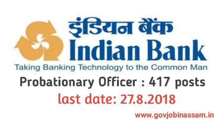 Indian Bank Recruitment 2018 apply online,govjobinassam