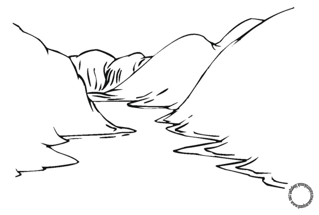 Gambar Mewarnai Pemandangan Sungai Untuk Anak Gambar Mewarnai
