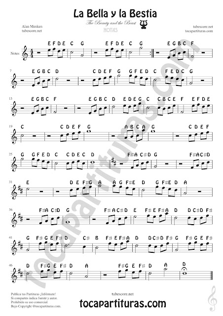 Beauty and the Beast (nomenclatura inglesa) Easy Sheet Notes for Treble Clef, Violin, Saxophones, Trumpets, Flute, Recorder, Clarinet...