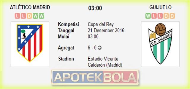 Prediksi Pertandingan Atletico Madrid vs Guijuelo 21 Desember 2016
