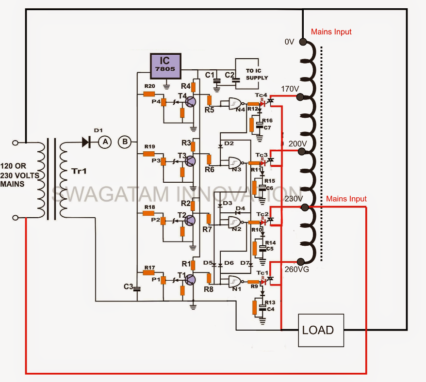 circuit breaker circuit diagram circuit diagram voltage stabilizer build a solid state scr/triac controlled automatic voltage ...