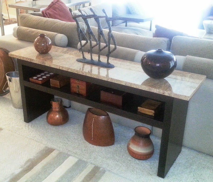 Granite Coffee Table With EXPEDIT Wall Shelf And Lack Top Sofa