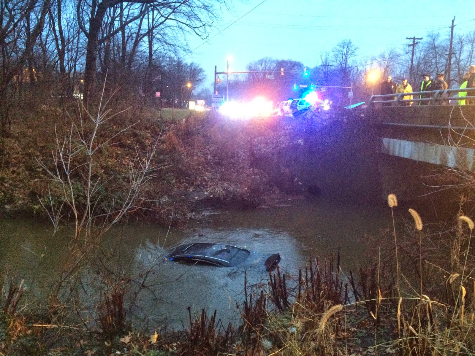 cherry hill news information 1 man rescued after car plunges into rain swelled creek on. Black Bedroom Furniture Sets. Home Design Ideas