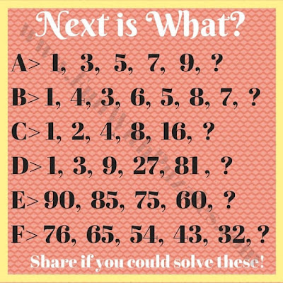 Easy puzzles to find the next number in the sequences