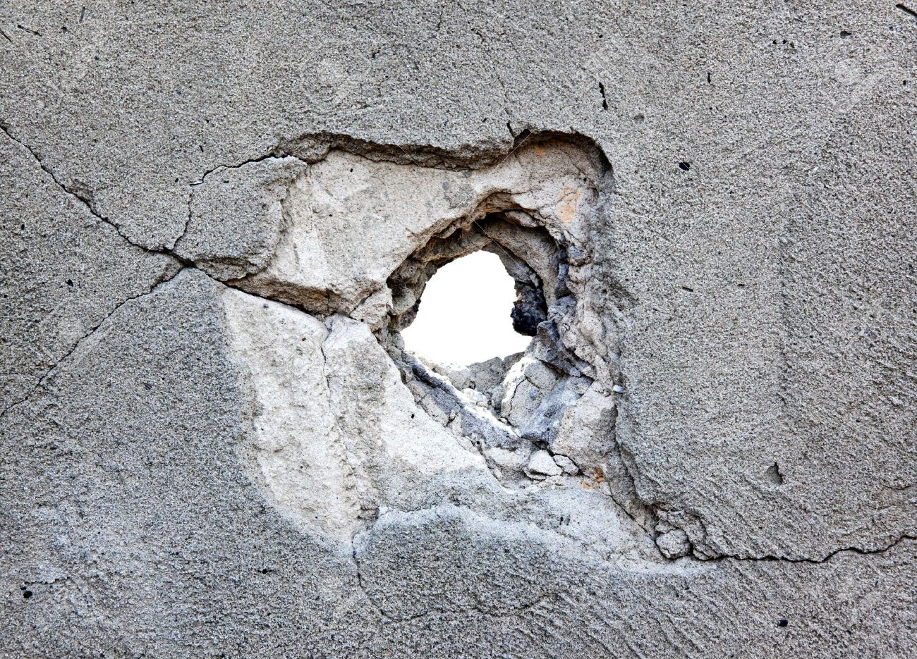 Hole In Concrete Wall : The glass character i read news today oh boy