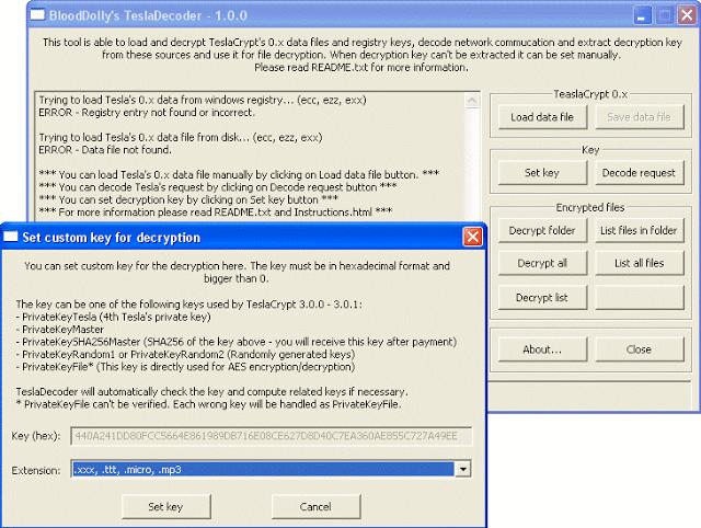 TeslaDecoder decriptare file da TeslaCrypt