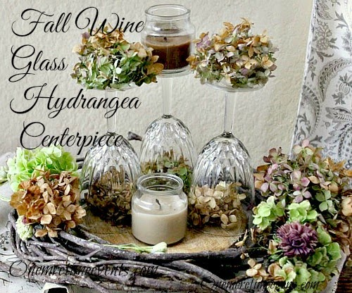 Vintage, Paint and more... One More Time Events Wine Glass Hydrangea Centerpiece