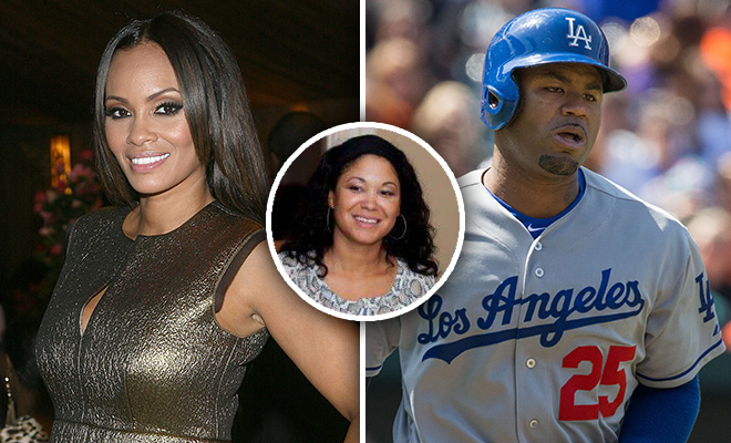 Evelyn Lozada, Amy Freeman and Carl Crawford (left, center and right)