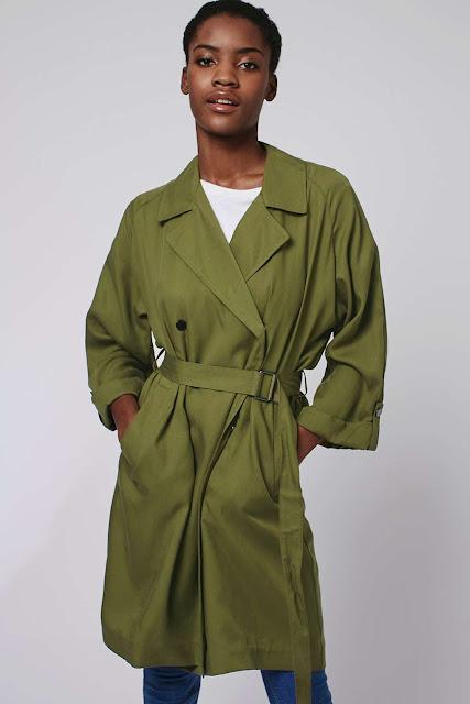 topshop green trench coat, khaki trench coat, khaki duster coat,