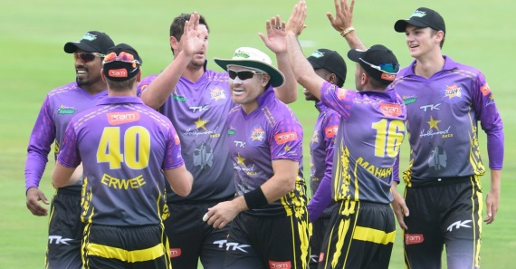Hollywoodbets Dolphins - Purple Kit - Away Kit - Celebrating - High Fives