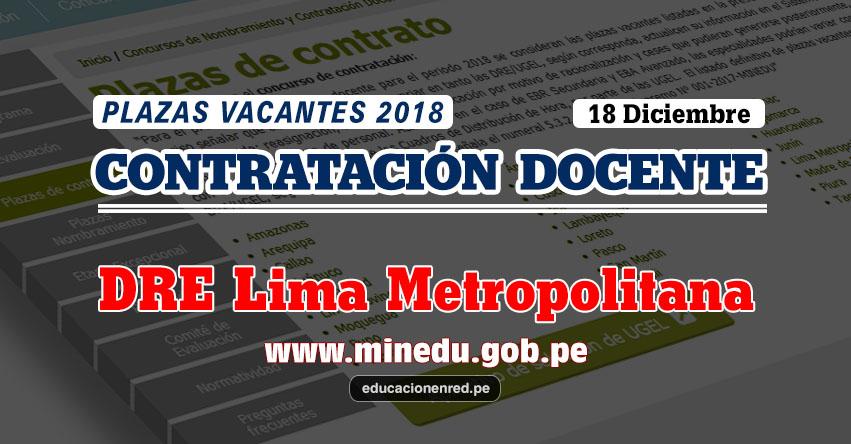 DRE Lima Metropolitana: Plazas Vacantes Contrato Docente 2018 (.PDF) www.drelm.gob.pe