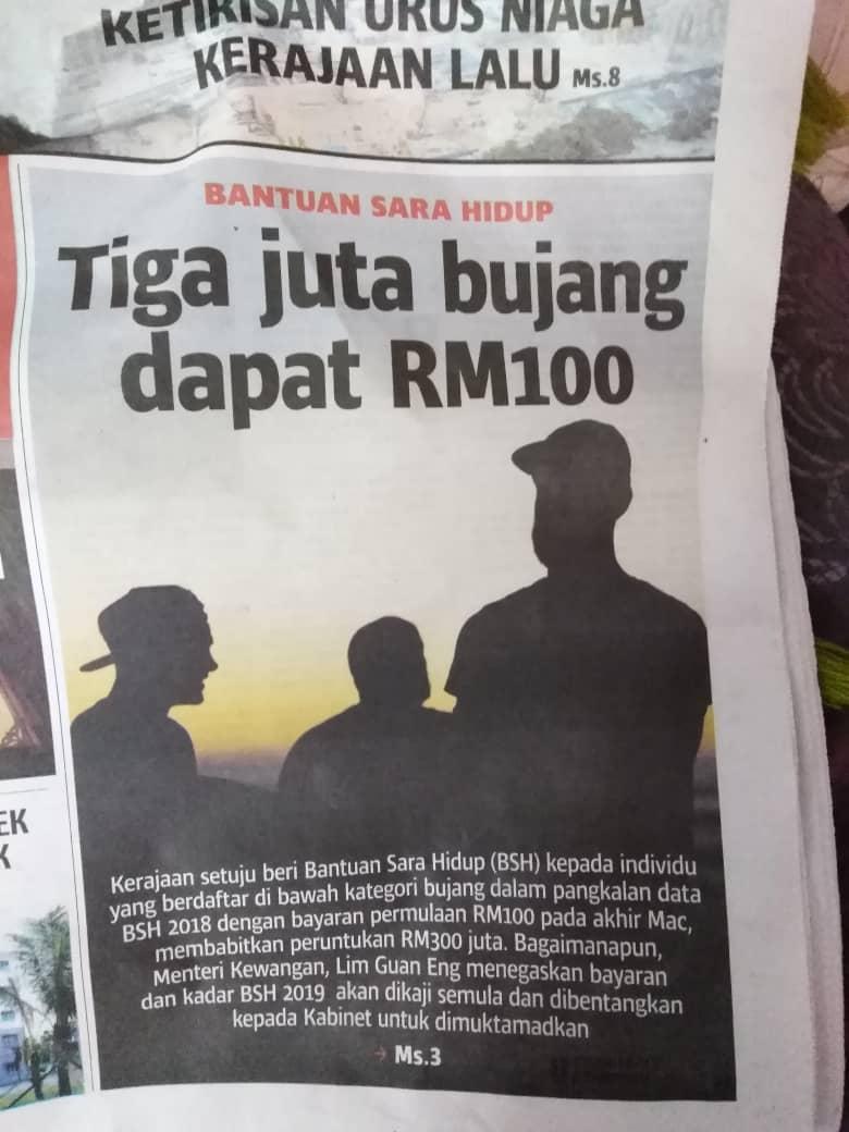 Bujang dapat BSH RM100 pada akhir Mac 2019?