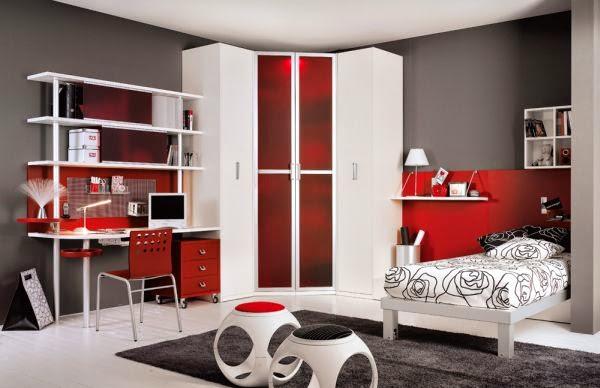 cuarto juvenil gris rojo