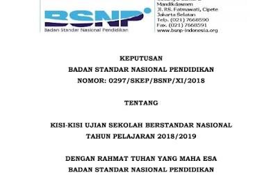 Kisi-Kisi Ujian Sekolah Berstandar Nasional / USBN Tahun Pelajaran 2018/2019