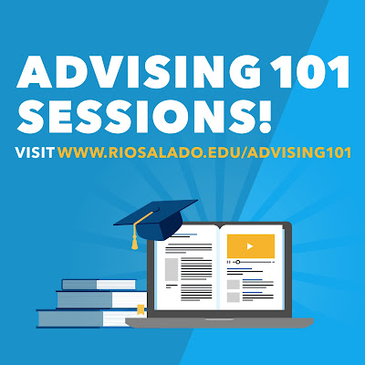 poster for Advising 101 sessions.  Illustrated image of a laptop, books and graduation cap
