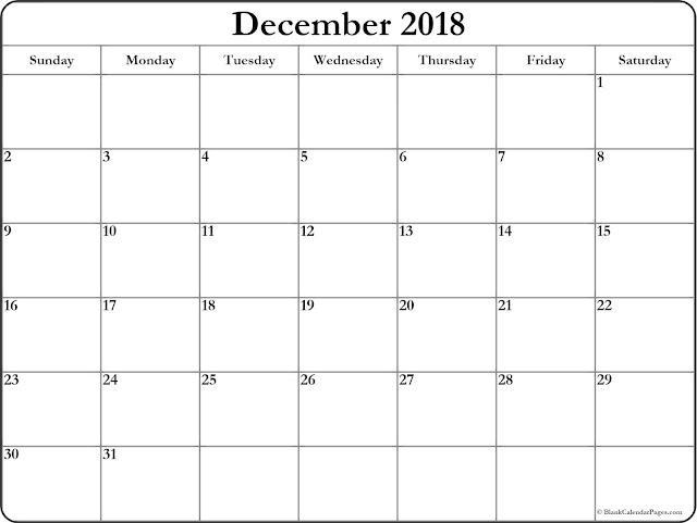 December 2018 Printable Calendar A4