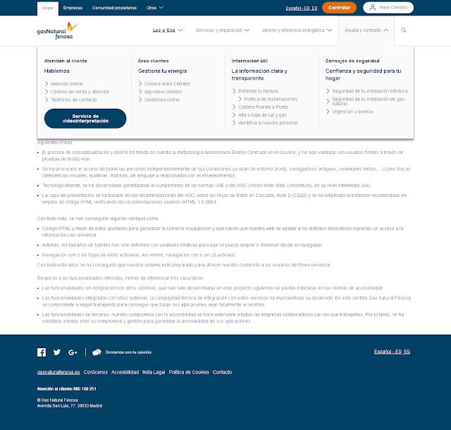 pagina referente a la accesibilidad en la web de Endesa