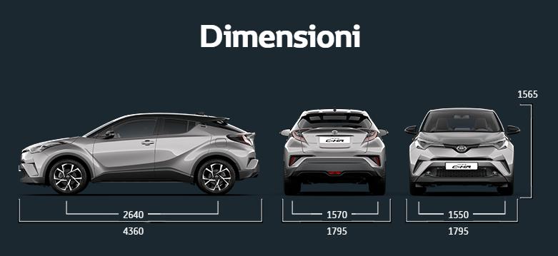 Dimensioni della Toyota C-HR 2016-2017: dimensione bagagliaio, capacità e misure