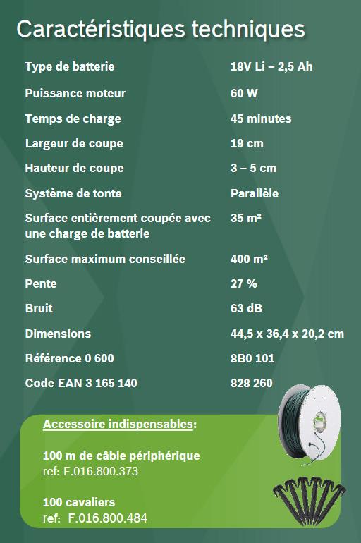 Caractéristiques techniques Bosch Indego 400 Connect