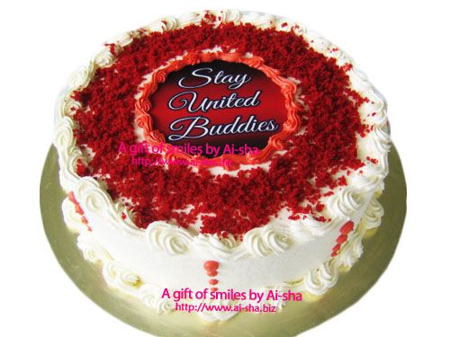 Red velvet Cake with Edible Image year 2013