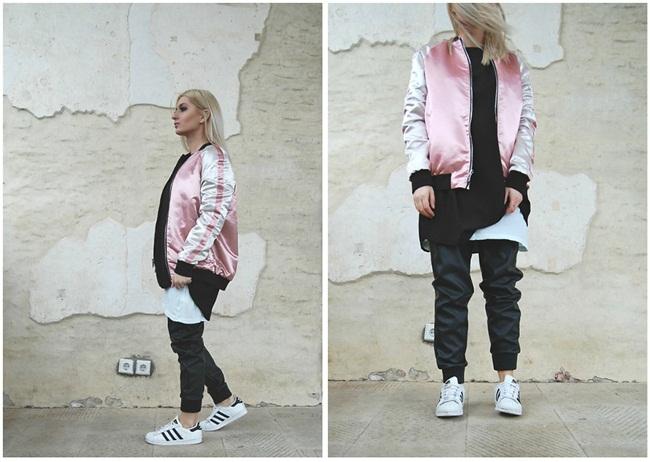 Stradivarius 2016 Spring Pink Embroided Sukajan Bomber Jacket