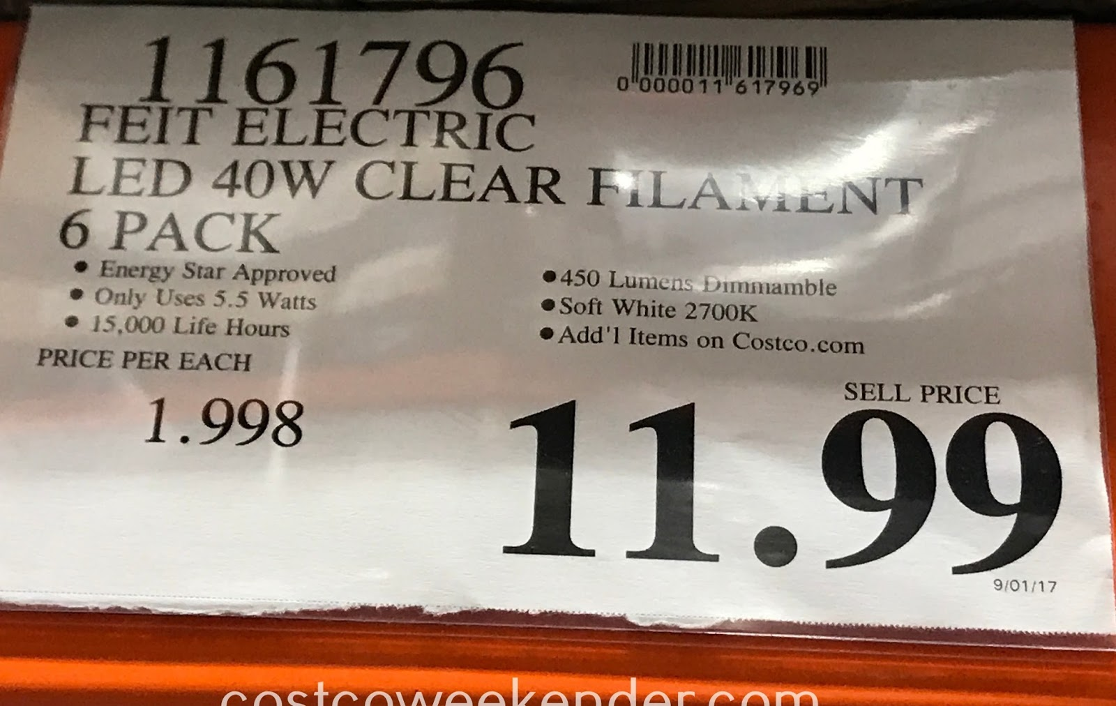 Deal for a 6 pack of Feit Electric 40W Clear Filament LED Lights at Costco