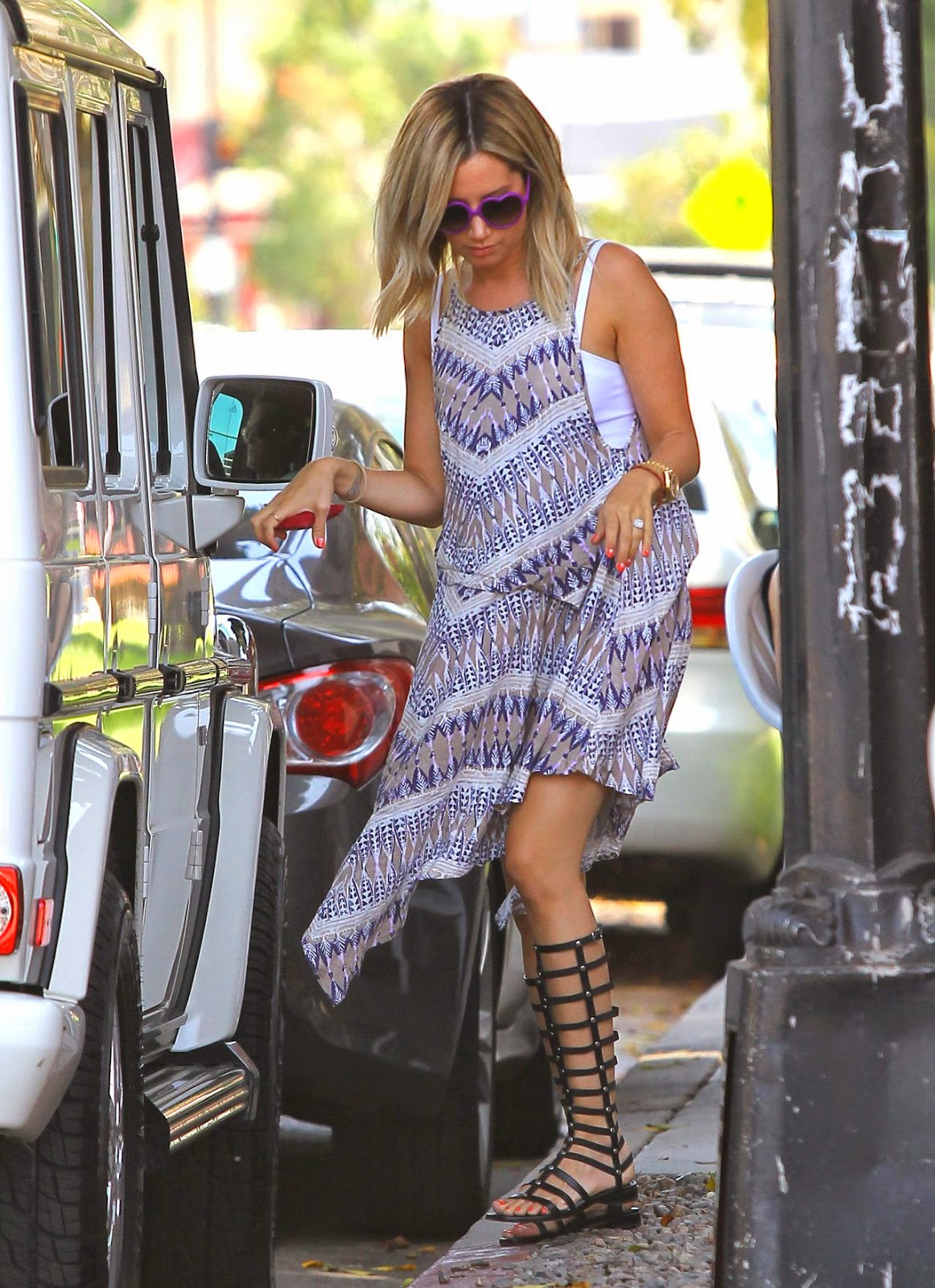 Ashey Tisdale in a bohemian dress and gladiator sandals out in Toluca Lake
