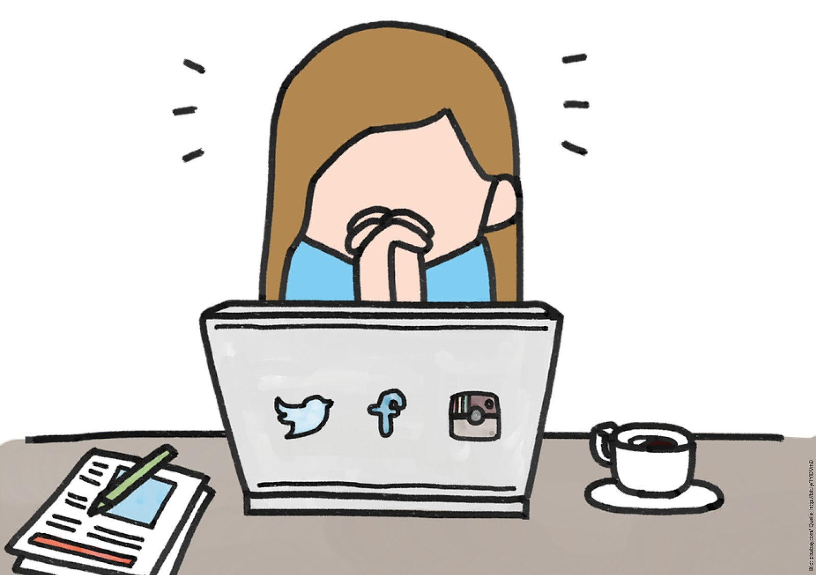 girl sitting next to a laptop posting on social media (twitter, facebook, instagram, blog)