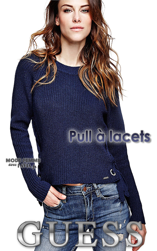 Pull femme bleu marine à lacets GUESS