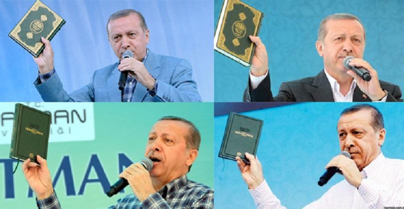 Erdogan pidato sambil mengangkat mushaf dalam beberapa kesempatan