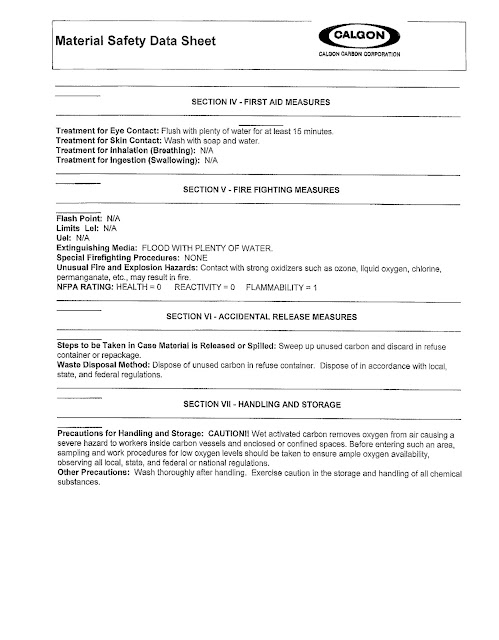 Material Safety Data Sheet (MSDS) Karbon Aktif Calgon FiltraSorb 300