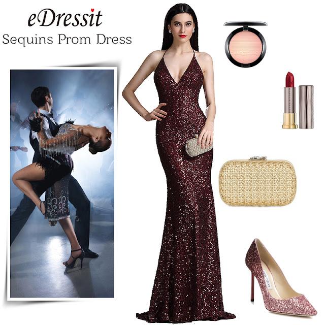 burgundy spaghetti halter v neck sequins prom dress