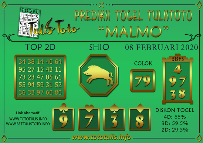 Prediksi Togel MALMO TULISTOTO 08 FEBRUARI 2020