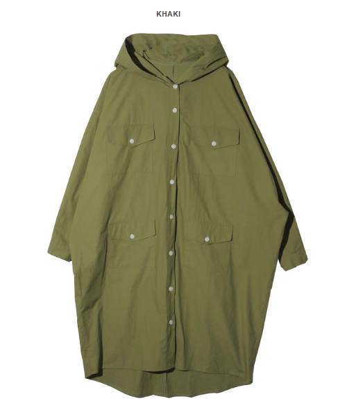Hooded Button-Down Coat